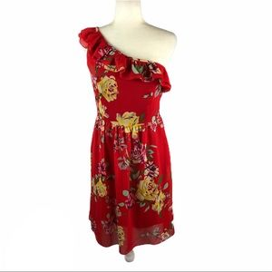 Madison Leigh Red Floral One Shoulder Dress